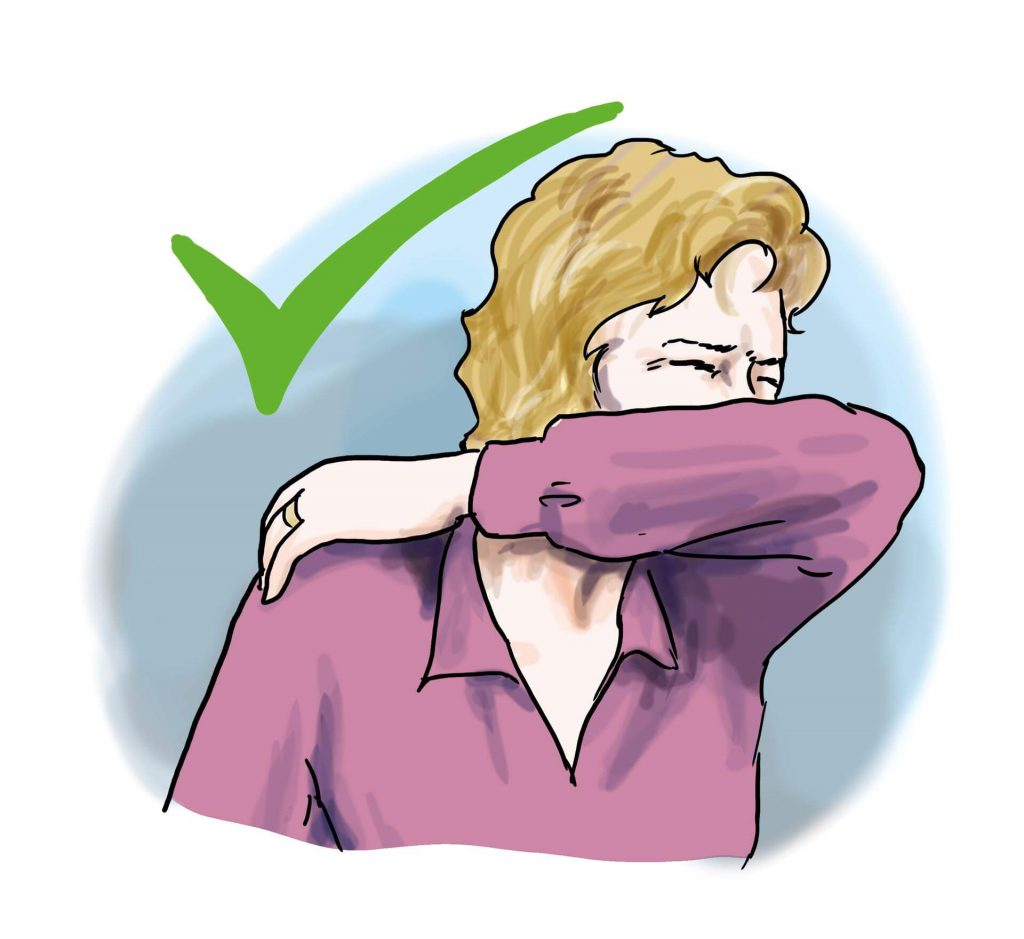 In Armbeuge husten und niesen