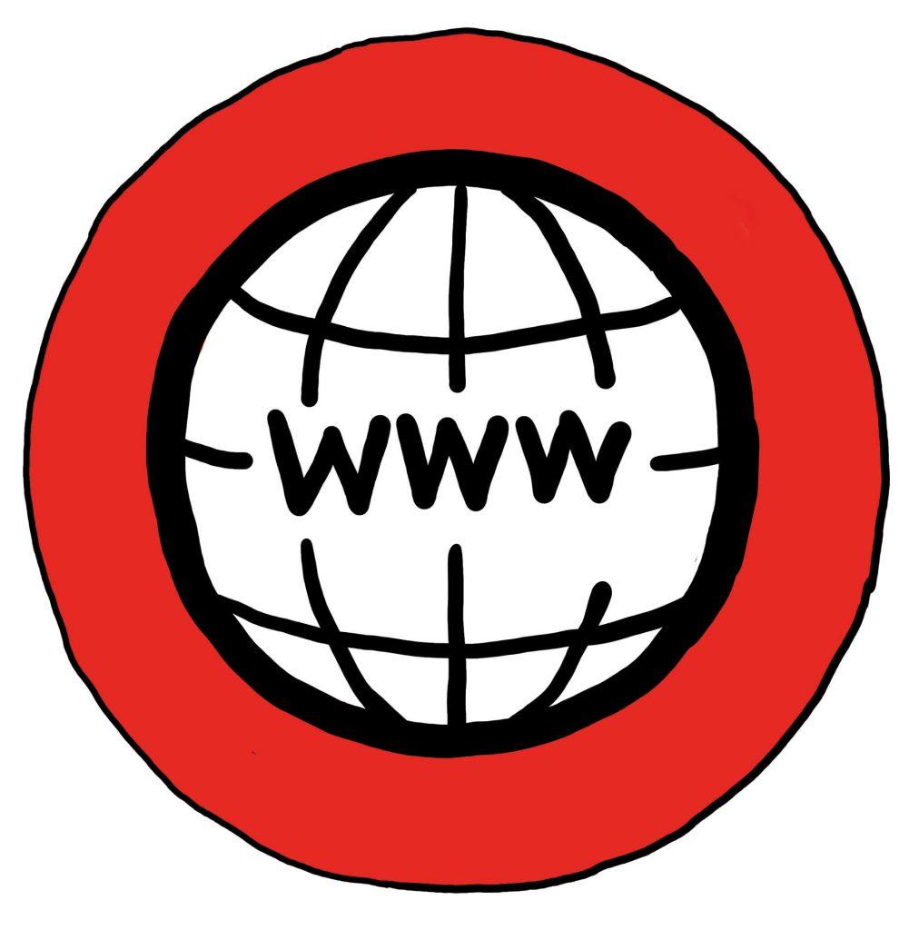 Ein schwarzer Kreis mit den Buchstaben WWW auf einem roten Kreis - Symbol für Internet-Adresse